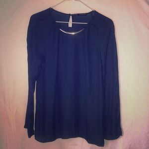 Zara Navy Blue Chiffon Top with Gold Neck Detail S